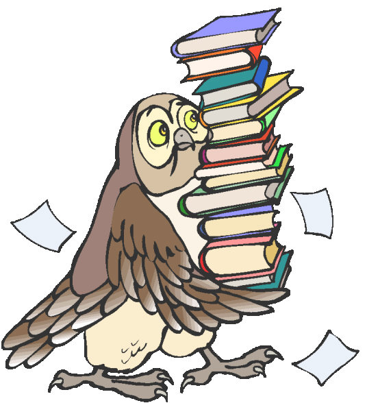 owl with book stack image